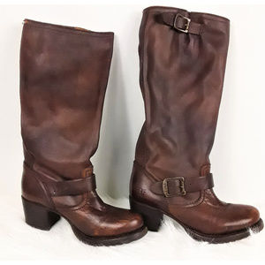 Frye Brown Leather Strappy Riding Boots Size 6B